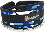 Premium Dip Belt with Chain by DMoose Fitness (Blue Camo)