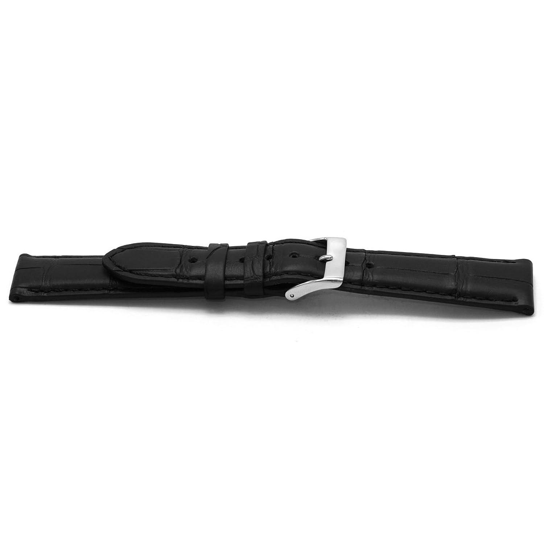 Uhrenarmband Alligator Leder schwarz 20mm EX-G134 (NUR UHRENARMBAND - UR NICHT INBEGRIFFEN!)