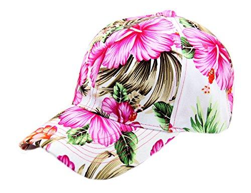 RW Floral Hawaiian Adjustable Snapback Hats Baseball Caps (Pink/Curve) (Cap Hat Floral)