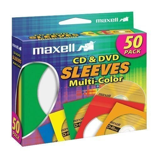 Maxell CD-401 CD/DVD Sleeves 50pk Color (Maxell Cd / Dvd Sleeves)