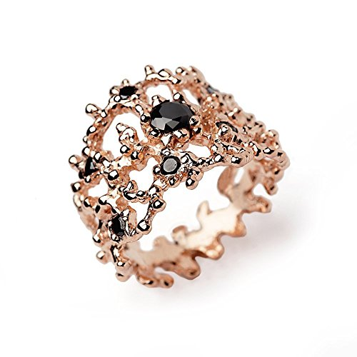 Cocktail Ring Diva (18k Rose Gold Plated Sterling Silver, Black Cubic Zirconia CZ, Coral Organic Wide Band Ring, Size 4 to 13)