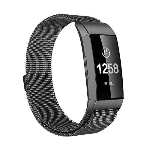 Fitlink Bands Compatible Fitbit Charge 3 & Charge 3 SE for Women Men, Magnetic Stainless Steel Milanese Loop Replacement Wristbands Accessories Watchbands Strap Multi Color, Large Small (Black, Large)