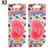 Jelly Belly Tutti Frutti Flavour 3D Hanging Car / Office Air Freshener - 2 Pack (Twin Pack)