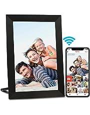 AEEZO WiFi digitale fotolijst 9 inch IPS-touchscreen, automatische rotatie, eenvoudige installatie voor het delen van foto's en video's, wandmontage digitale fotolijst (Zwart)