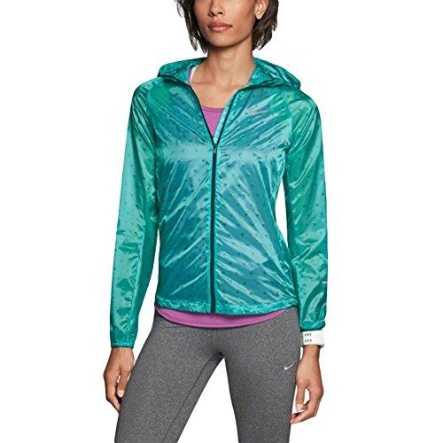 Nike Women's Vapor Cyclone Packable Running Jacket, Teal (Large)