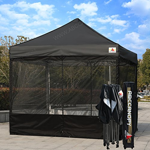 ABCCANOPY 10×10 Ez Pop up Canopy Party Tent With Netting COMMERCIAL Instant Gazebo With Screen Walls (Black)