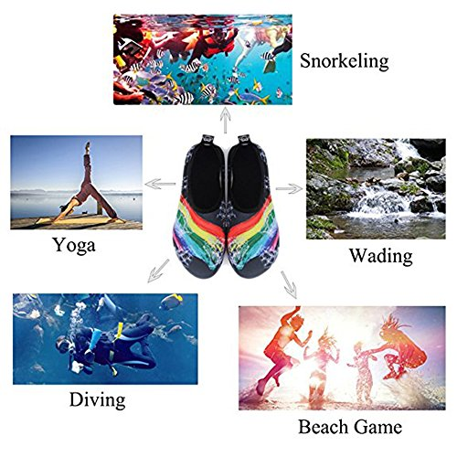 Slip Rubber Beach Water Black Surf Summer Men Swim Outdoor Sole for On Women Shoes Stripe Shoes Barefoot Kids for Yoga Aqua Socks wqSSEt4P