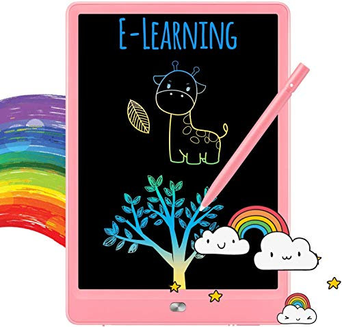 TEKFUN Boys Gifts, 8.5inch LCD Writing Tablet Doodle Board with Rainbow Color, Educational Toys for 3 4 5 6 Year Old Boys, Reusable Drawing Tablet Drawing Board(Pink)