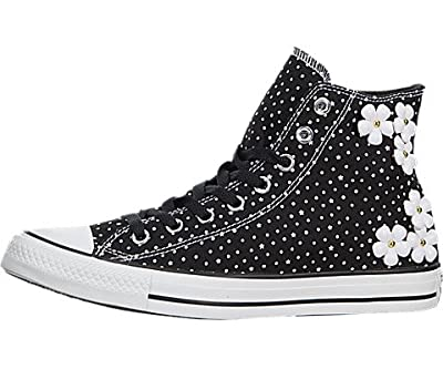 Converse Womens Chuck Taylor All Star Floral Polka Dot Black/White Sneaker - 6.5