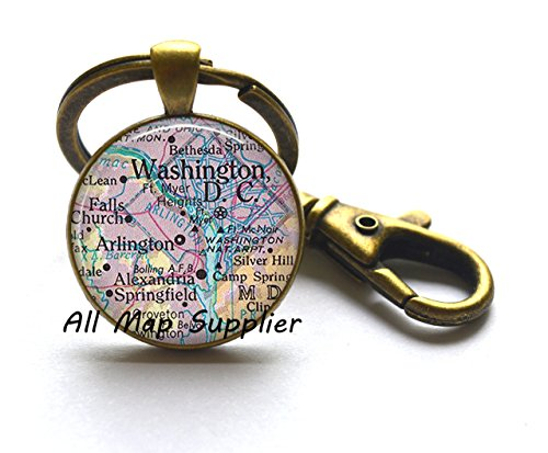 Charming Keychain District of Columbia map Key Ring Washington DC map Keychain Washington DC Keychain,A0001