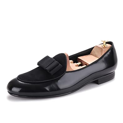 HI HANN Men s Velvet and Nubuck Leather Stitching with Bowtie Flats Shoes  Slip-on Loafer Round 8cfc7a1b812b