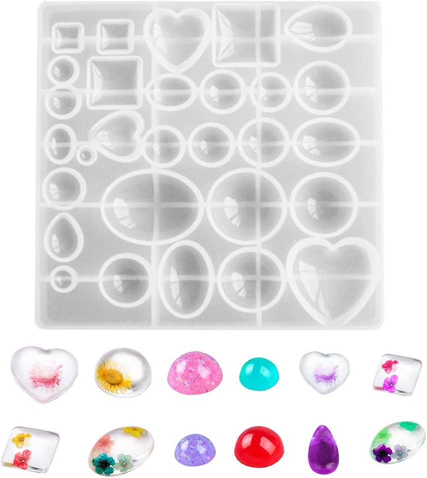 gems epoxy resin mold silicone clear mold,craft tool moon molds diy resin cabochon heart random shape cabs mould gemstone cabochon mold