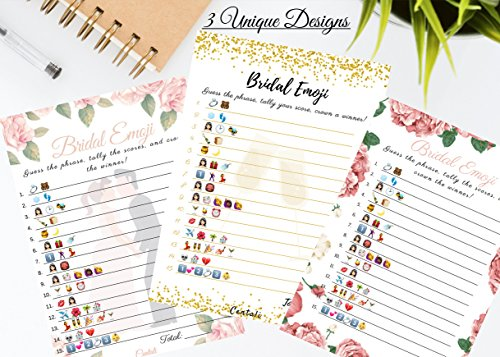 Bridal Shower Games (25 Pack) Emoji Pictionary Games- for Engagement, Wedding and Bachelorette Party. Elegant GOLD and FLORAL Designs for Adult, Co-ed, Men, Women, Couples (PINK FLORAL) by CENTALI (Image #5)