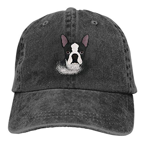 YXHP? Puppy Boston Terrier Dog Washed Denim Hat Dad Baseball Cap Adjustable Unisex
