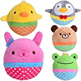 Zerlar Pet Plush Toys Squeaky Doll Cute Ball Chick Frogs Bird Bear Pig for Dogs Puppy Cats Chewing Pack of 5 Review