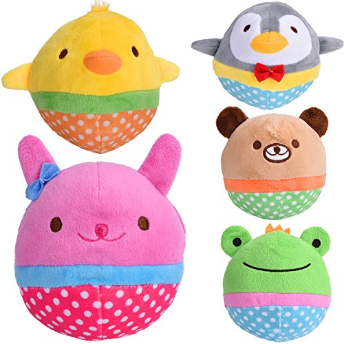 Zerlar Pet Plush Toys Squeaky Doll Cute Ball Chick Frogs Bird Bear Pig for Dogs Puppy Cats Chewing Pack of 5 For Sale