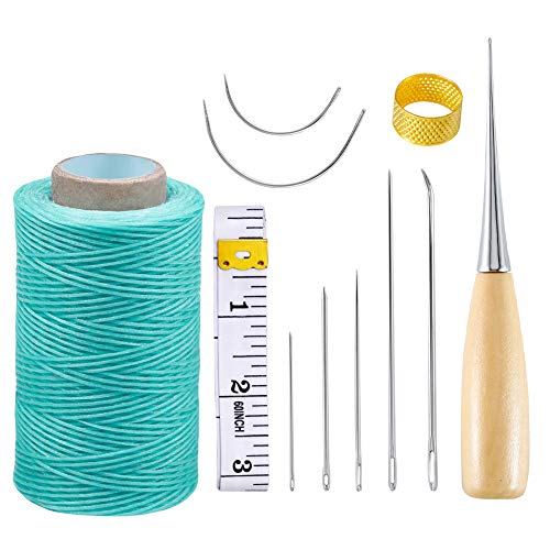 (11Pcs Leather Craft Tool, 284yrd Heavy Duty Waxed Thread with Awl,Leather Sewing Needle,Sewing Waxed Coarse Whipping Thread for Leather Working,Leather Craft DIY(Sky Blue))