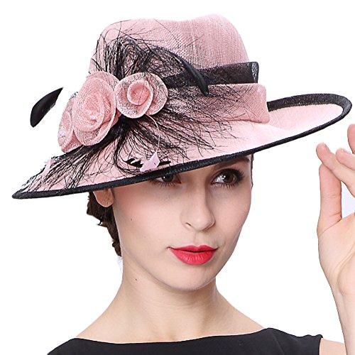 Koola's hats Lady Pink 3 Layers Sinamay Wedding Hats Sun Hat Ascot Race Derby Hat