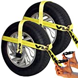 Vulcan Yellow Classic Adjustable Loop Car Tie Down Replacement Straps - 3300 lbs. SWL (Set of 2 Replacement Straps - No Ratchets Included)