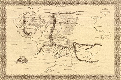 Map Of Middle Earth The Lord Of The Rings Nice Silk Fabric C