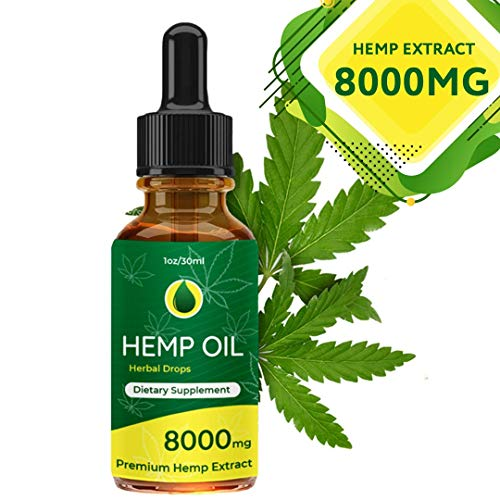 Hemp Oil Drops 8000mg, Full Spectrum Co2 Extracted, Help Reduce Stress, Anxiety and Pain, Anti-inflammatory, 100% Natural Ingredients, Vegan Friendly, GMO Free