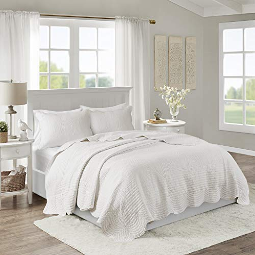 Madison Park Tuscany 3 Piece Coverlet Set, King/California King, White