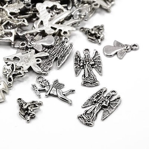 30 Grams Antique Silver Tibetan Random Shapes & Sizes Charms (Angel) - (HA06705) - Charming Beads