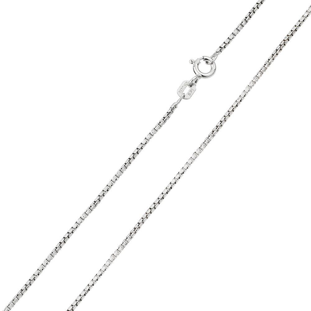 Princess Kylie Rhodium Plated Sterling Silver Small Box Round Diamond Cut 024 Chain 1.2mm
