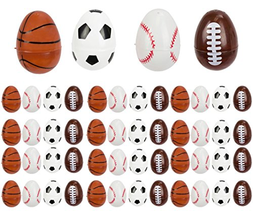 Sports Easter Eggs for Egg Hunts & Easter Baskets - Baseball, Soccer, Basketball, Football - 2.5
