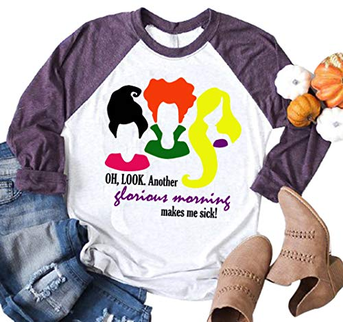 Oh Look Another Glorious Morning Halloween T-Shirt Women Sanderson Sisters Long Sleeve Top Tee (X-Large, White)