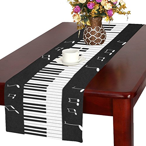 InterestPrint Piano Keyboard with Music Note Long Table Runner 16 X 72 Inches, Black and White Rectangle Table Runner Cotton Linen Cloth Placemat for Office Kitchen Dining Wedding Party Home Decor -