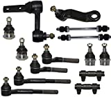PartsW 14 Piece Kit Pitman & Idler Arms Front Upper & Lower Ball Joints Inner Outer Tie Rod Ends Adjustment Sleeves Sway Bar