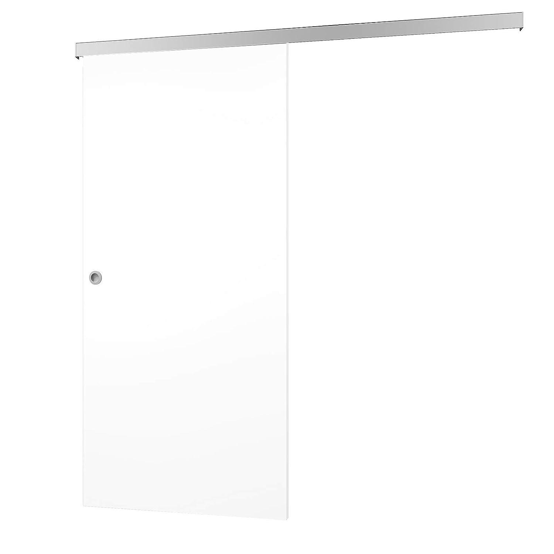 Madera de puerta corredera Blanco Juego completo con puerta corredera de Herraje softclose 880 x 2035 mm puerta de madera & Carril Sistema de puerta ...