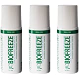 Biofreeze 13533 Pain Relief Gel, 3 oz. Roll-On Applicator, Original Green Formula, Pain Reliever (Pack of 3)