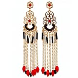 New Fashion Handmade Crystals Feather Tassels Statement Earrings For Women Gold Plated (A)