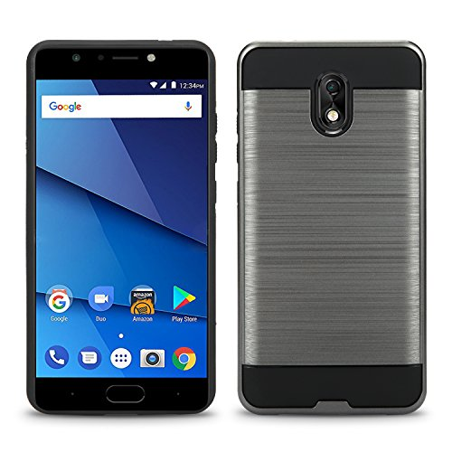 BLU Life One X3 Case, Slim Armor Hybrid Cover [Scratch/Dust Proof] Defender Dual Layer Shockproof Protection Case (VGC Gray)