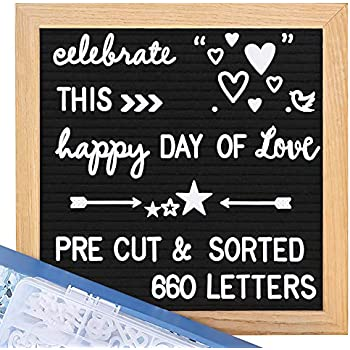 Felt Letter Board with Letters - Pre Cut & Sorted 660 Letters Cursive Word Pack, 10X10 Letter Board, Letterboard, Message Board, Letter Boards with Stand, Sorting Tray, Wall Mount.