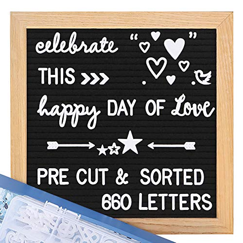Felt Letter Board with Letters - Pre Cut & Sorted 660 Letters +Bonus Cursive Words, 10X10 Letter Board, Letterboard, Message Board, Letter Boards with Stand +Sorting Tray +Wall Mount +Gift Box. (Symbol Shape Love)