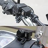 Etbotu Black 5V 2.1A USB Phone 12V Motorcycle Handlebar Handle Bar Clamp Charger Power Port Socket Set