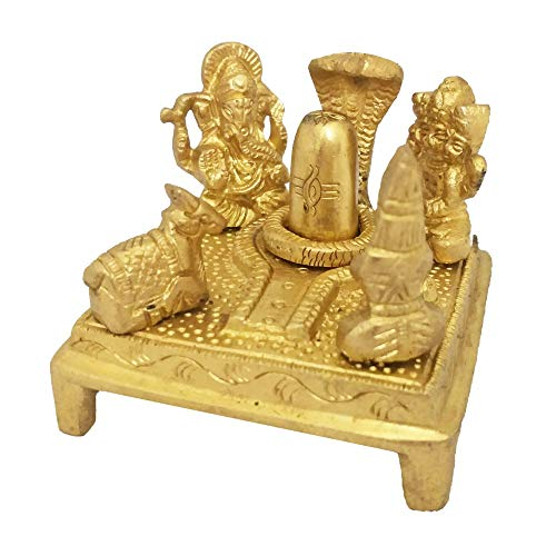 Divya Mantra Sri Hindu God Shiva, Goddess Parvati, Kartik and Ganesha Panchayat Family Parivar Chowki Idol Sculpture Statue Murti- Puja/Pooja Room, Meditation, Prayer, Office, Temple, Home Decor Item
