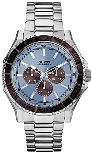 Guess W0479G2 45mm Silver Steel Bracelet & Case Mineral Men's Watch
