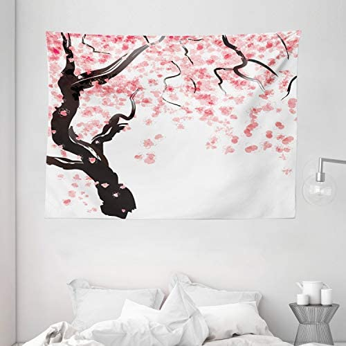 Ambesonne Floral Tapestry, Dogwood Tree Blossom in Watercolor Painting Effect Spring Season Theme Pinkish Tones, Wide Wall Hanging for Bedroom Living Room Dorm, 80 X 60 , Black Pink