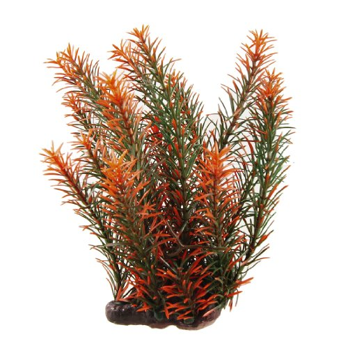 Jardin Plastic Plant Ornament with Perforated Base for Aquarium, Dark Green/Orange/Red