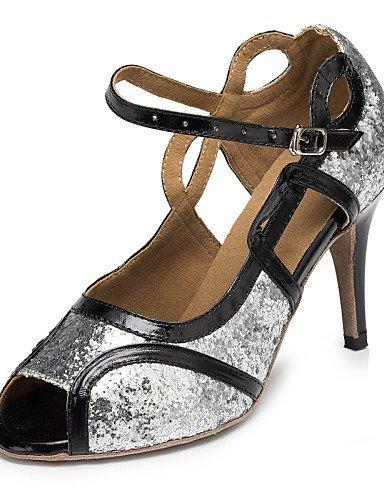 Personnalisables Latine danse Similicuir ShangYi Talon Salsa Satin Chaussures Silver Samba de Argent Paillette Personnalisé wExSIqvR