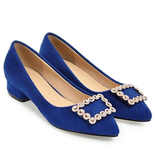 TAOFFEN Women's Fashion Slip On Court Shoes Heels Blue-27 VDdeg