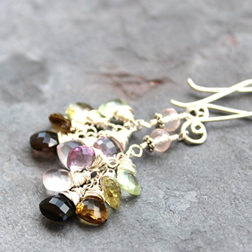 Multi Gemstone Earrings Pastel Quartz Cluster Rose Trilliant Stones, Sterling Silver