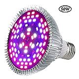 50W Full Spectrum LED Grow Light Bulb, E26 SMD5730 UV IR Plant Light For Greenhouse Grow Tent Veg Flower Indoor Plants