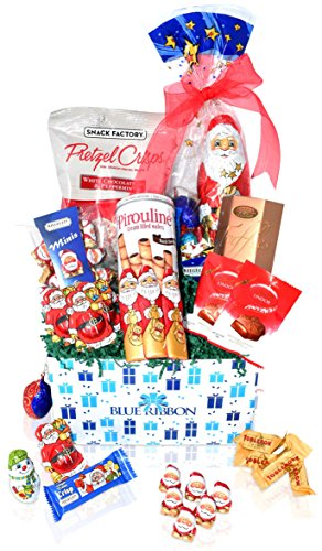 Christmas Chocolate & Snack Variety Gift Basket - Lindt, Santa's, Toblerone, Pretzels, Truffles and more - Christmas Gift Pack for Family, Friends, Her, Him and more (Most Popular Gift Baskets)