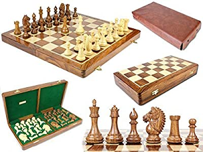 "House of Chess - Rio Staunton Biggie Knight Golden Rosewood 4"" Chess Set - 21"" Folding Chess Board with Algebraic Notation - 2 Extra Queens"