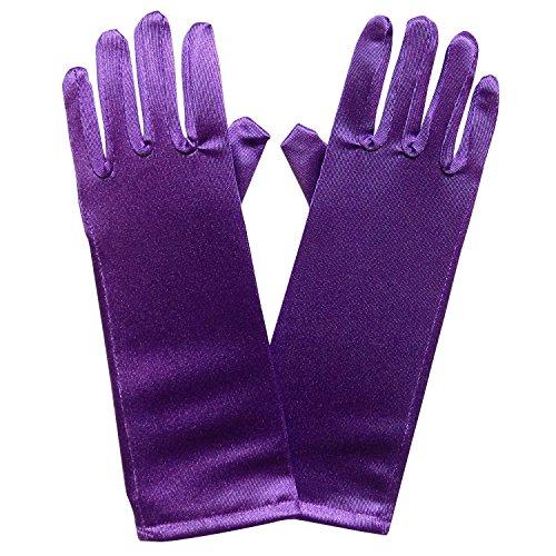 So Sydney Kids Long Dress-Up Princess Costume Gloves, Soft Satin Shimmer Fabric (Purple (Purple Princess Costumes)